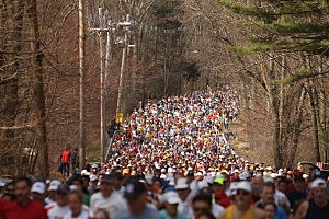 Boston Marathon runners leave Hopkinton