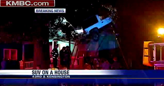 SUV Flies Into Attic Of Home