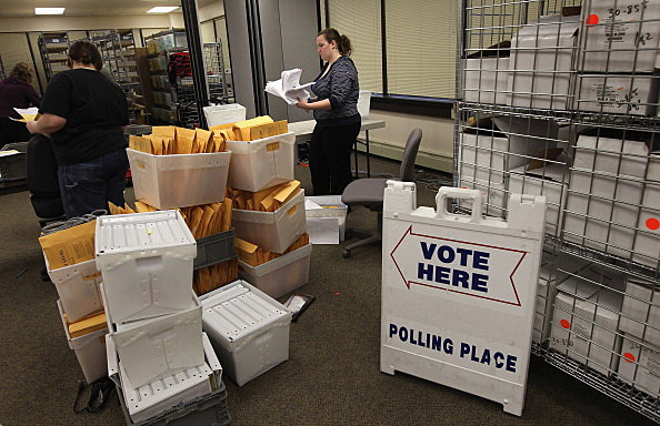 Election Officials Sort Ballots And Voting Materials