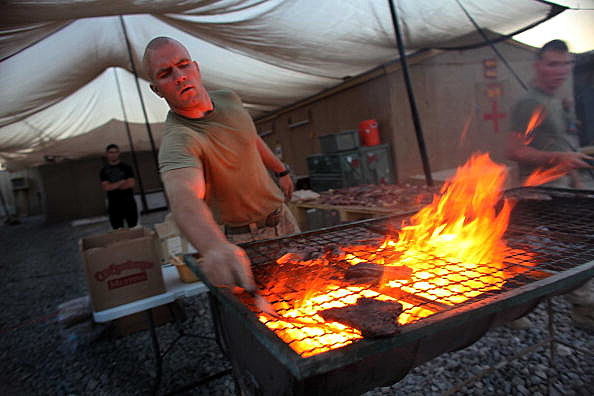 Marines BBQ in Afghanistan