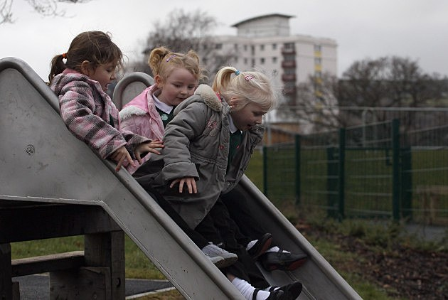 children on slide