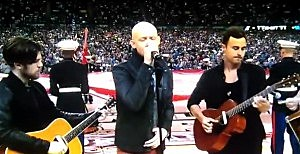 The Fray sang the National Anthem at the NCAA Championship game