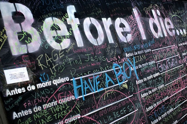 Public Chalkboard  Encourages People To Write Bucket List Entries