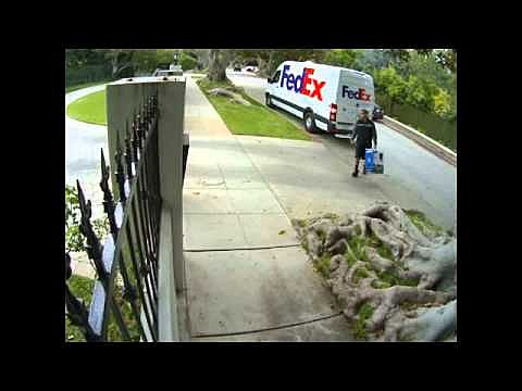 FedEx driver throws package