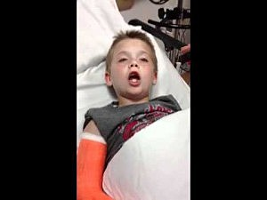 Kid is groggy when recovering from surgery.