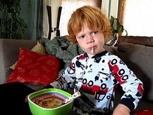 Little boy has boogers