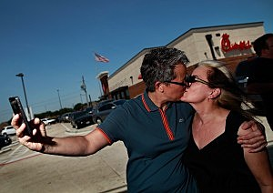 "Gay Rights Activists Hold ""Kiss In"" In Front Of Chick-Fil-A Restaurant"