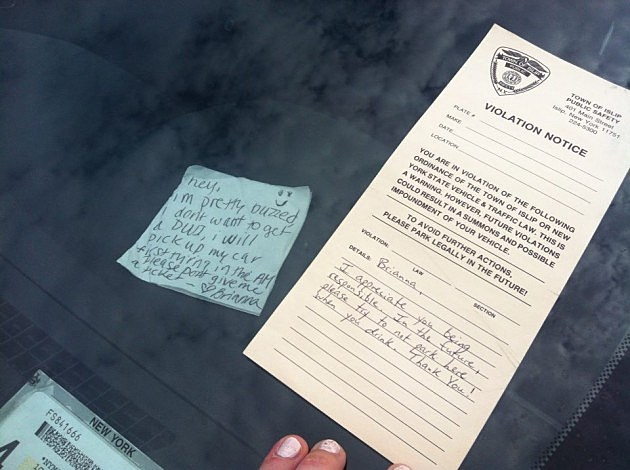 Note left by police officer