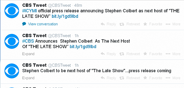 CBS Tweets Letterman's Replacement
