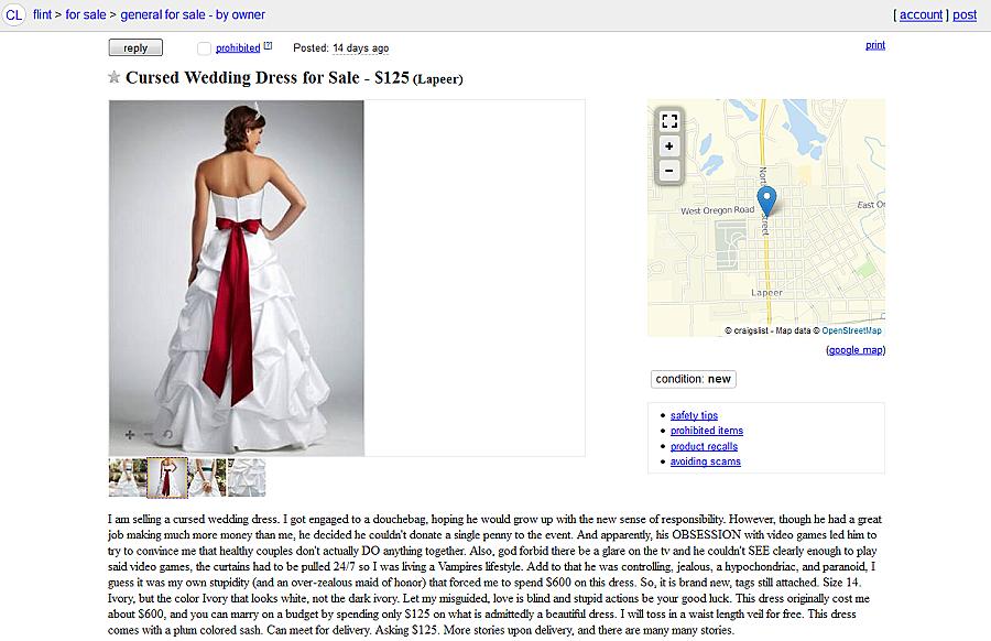 Cursed Wedding Dress For Sale On Flint Craigslist PHOTO