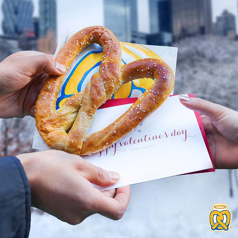 Download the My Pretzel Perks app and get a buy one, get one free heart-shaped pretzel in original or cinnamon sugar.