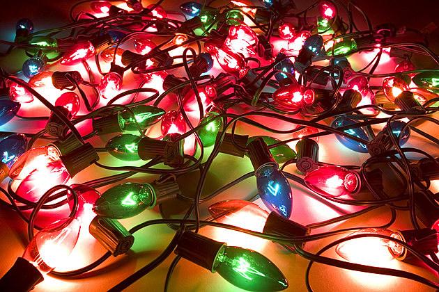 Close-up of lit up Christmas lights