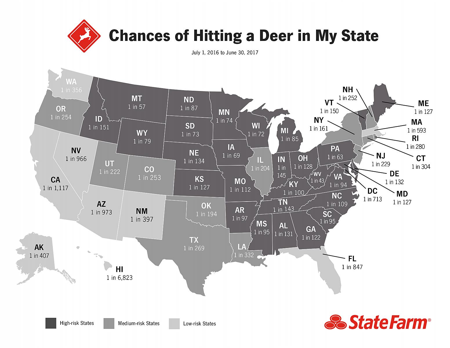 Car-Deer accident odds in US